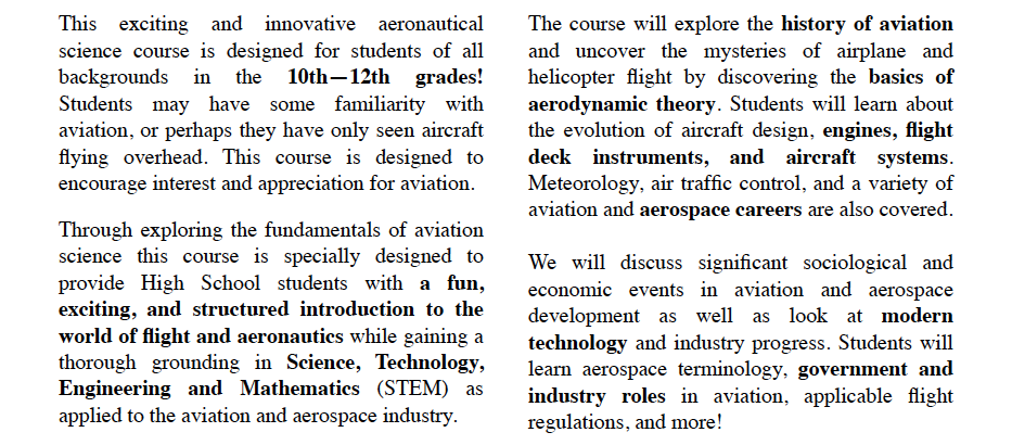 Certificate in Aeronautical Science